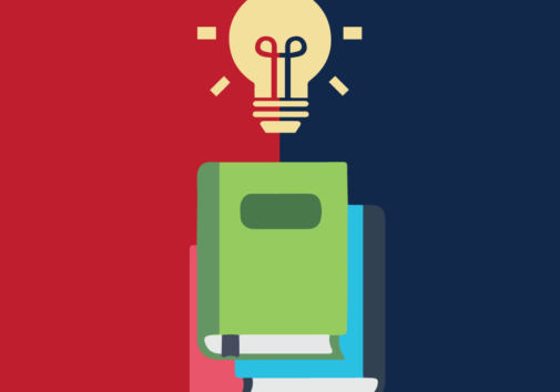 Conceptual illustration of books and a lightbulb. Background is divided evenly into red and blue sections.