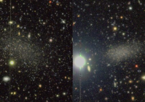 Color images of the two recently discovered satellite galaxies around M94. The images were taken with Hyper Suprime-Cam on the Subaru telescope, located at nearly 14,000 ft above sea level on the summit of Mauna Kea in Hawaii Image credit: Smercina et al. 2018