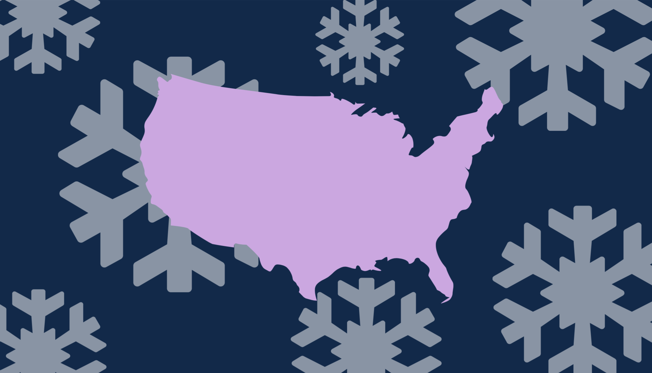 Illustration of a US map surrounded by snowflakes.