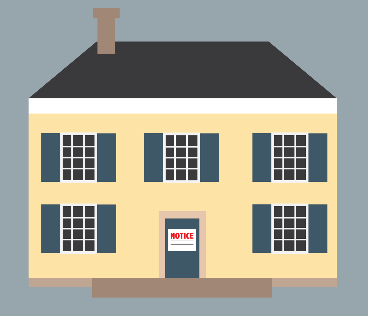 Illustration of an eviction notice on a house. Illustration credit: Kaitlyn Beukema