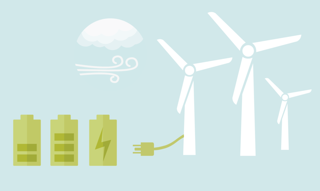 Graphic of wind turbines, wind and batteries being charged with plug from turbines.