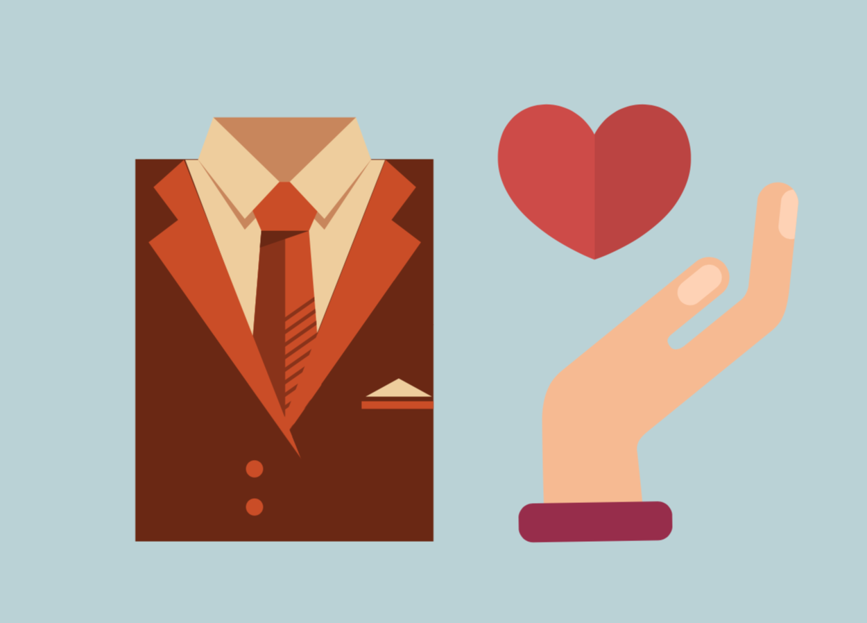 Icons of a business man and a hand holding a heart.