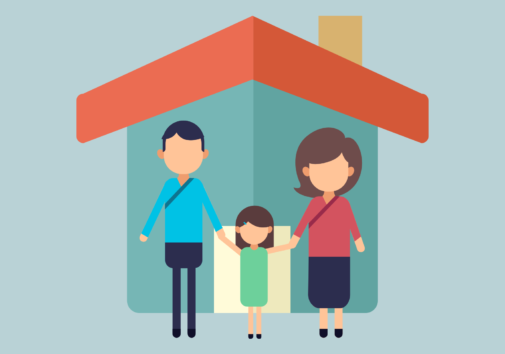 Illustration of a latino family.