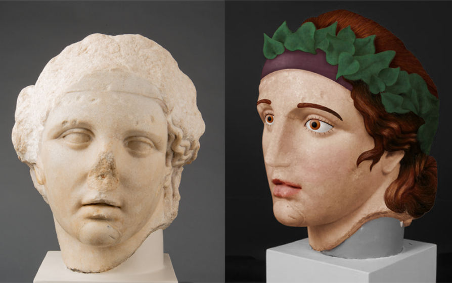 Artists gave gods in sculptures and paintings red or gold hair to signal their divine status, like Bacchus (pictured) as the sculptural remnant that Kelsey Museum visitors can see today (left; photo by Randal Stegmeyer) and with his probable original colors during the Roman period (right; digital reconstruction by Emily Pierattini). Another giveaway that Bacchus appears in a painting: He's wearing only one sandal. In Roman art, a missing sandal works as a visual cue to show that a person is intoxicated.