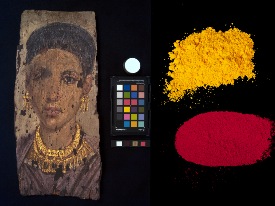 This portrait of a mummified woman was painted at nearly life size on a wood panel. Additional wrapping would have secured the panel to the mummy's head, with the portrait facing the mummy's body. Photo of the portrait and color reference by Carrie Roberts. Pigment photos by Randal Stegmeyer.