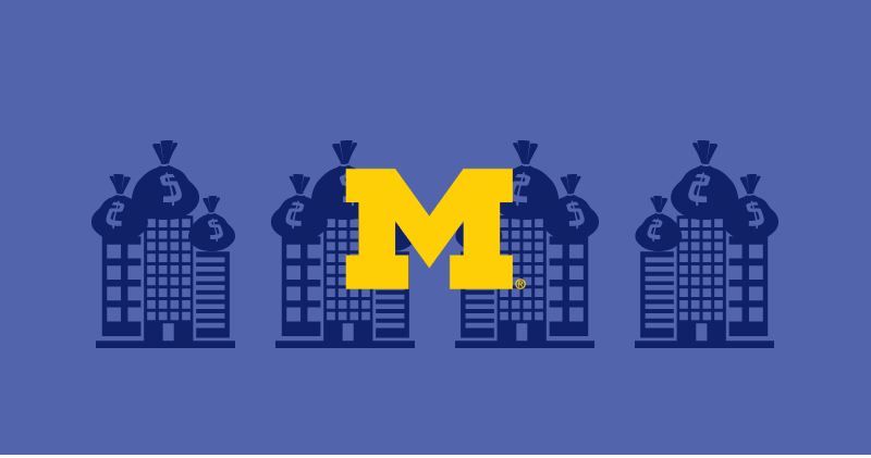 Illustration of four buildings with money on top to demonstrate Michigan rewarding them with funding. Illustration credit: Ilma Bilic
