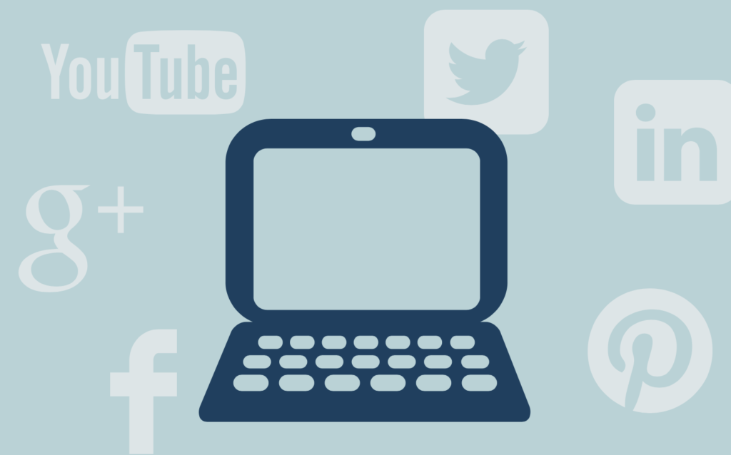 Icon of a computer and social media icons