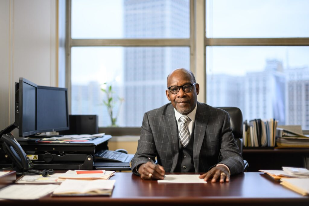 Odell Bailey, income tax manager for the city of Detroit, in his office at the Coleman A. Young Municipal Center. Photo: Austin Thomason, Michigan Photography.