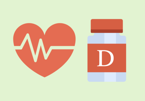 Heart rate icon and illustration of Vitamin D pills