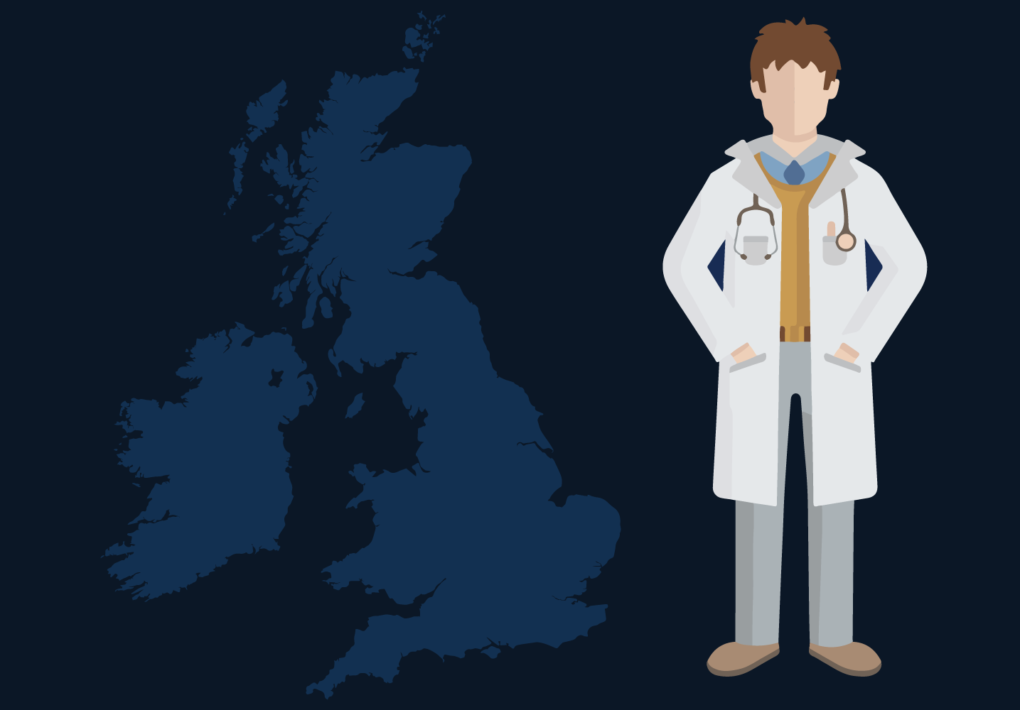 Illustration of a doctor and a map of the UK