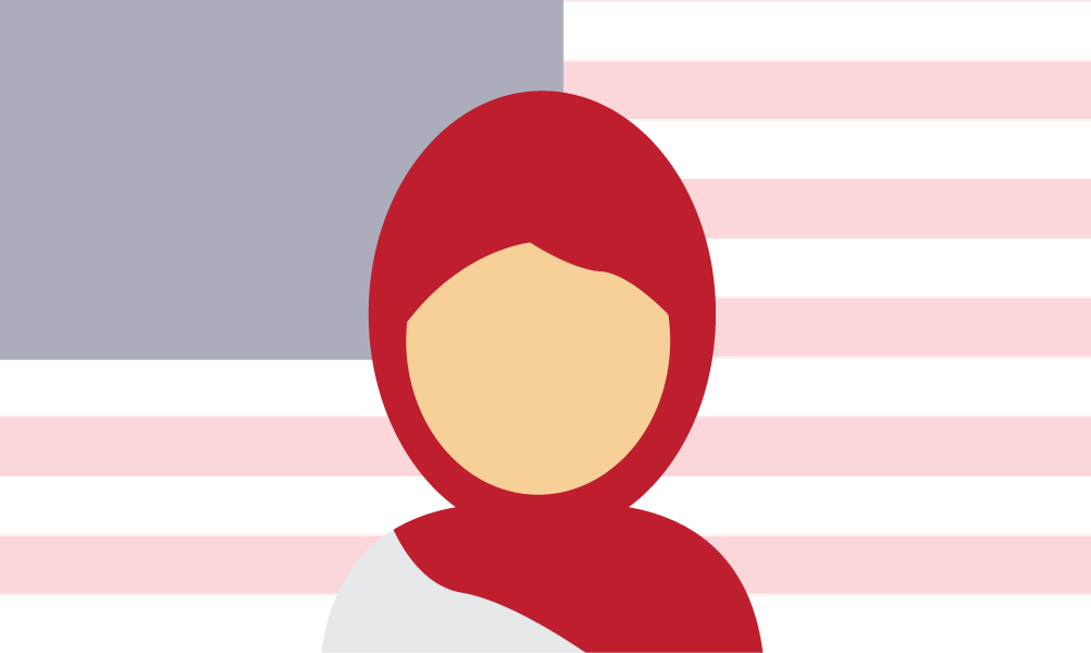 Illustration of a Muslim woman in front of an American Flag. Illustration credit: Kaitlyn Beukema
