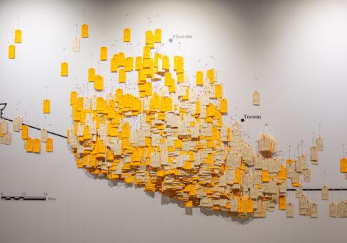 """Uma pessoa olha para """"Hostile Terrain 94"""" durante uma exposição preliminar realizada no Museu de Arte Phillips, no Franklin & Marshall College, em Lancaster, Pensilvânia. Crédito: Daniel López, cortesia do Projeto de Migração Indocumentada."""