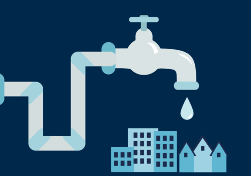 Illustration of a water faucet dripping on a city.