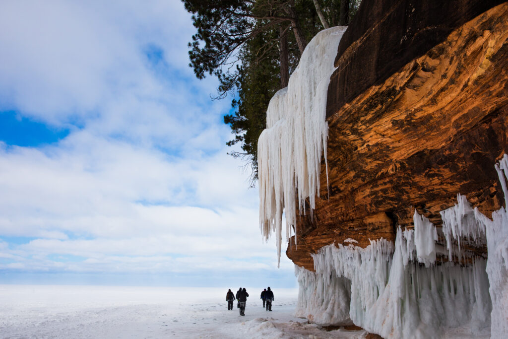 Apostle Island Ice Caves on the shores of Lake Superior. Image courtesy: Getty Images