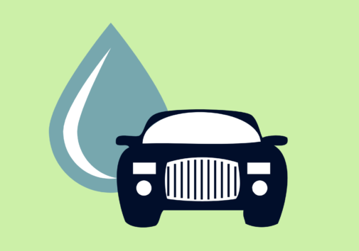 Icon of a car and a water droplet.