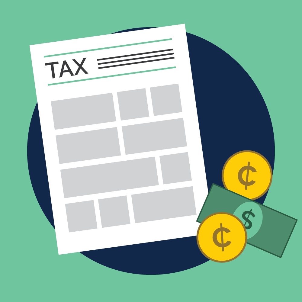 Illustration of a tax form and cash. Illustration credit: Kaitlyn Beukema