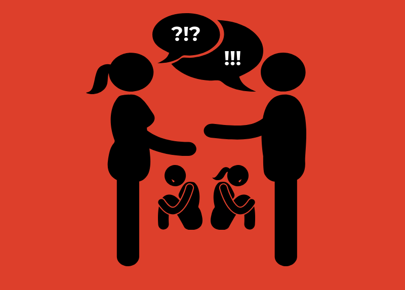 Icon of parents fighting