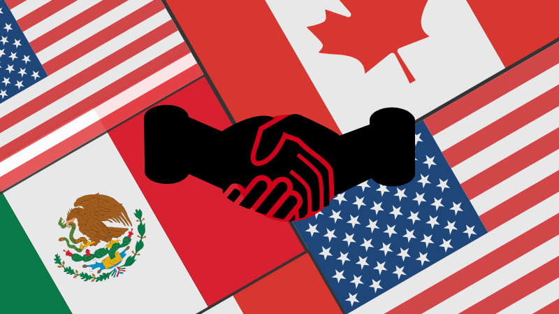 Illustration of NAFTA trade agreement. Illustration credit: Ilma Bilic