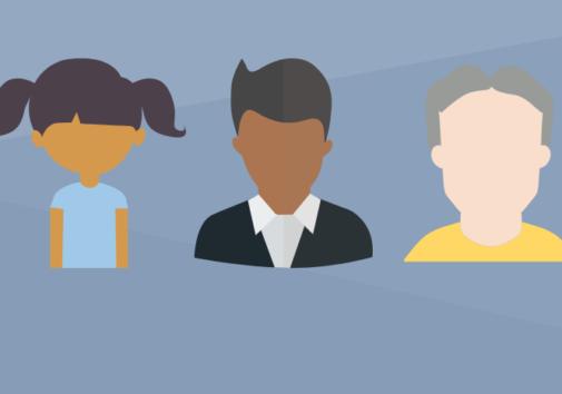 Illustration of three college students.