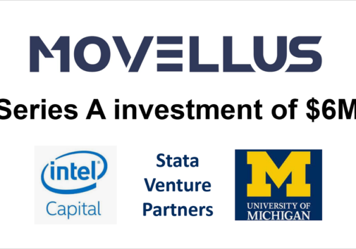 """Icons of intel, stata capital, and U-M logo. """"Movellus"""" """"Series A investment of $6M"""""""