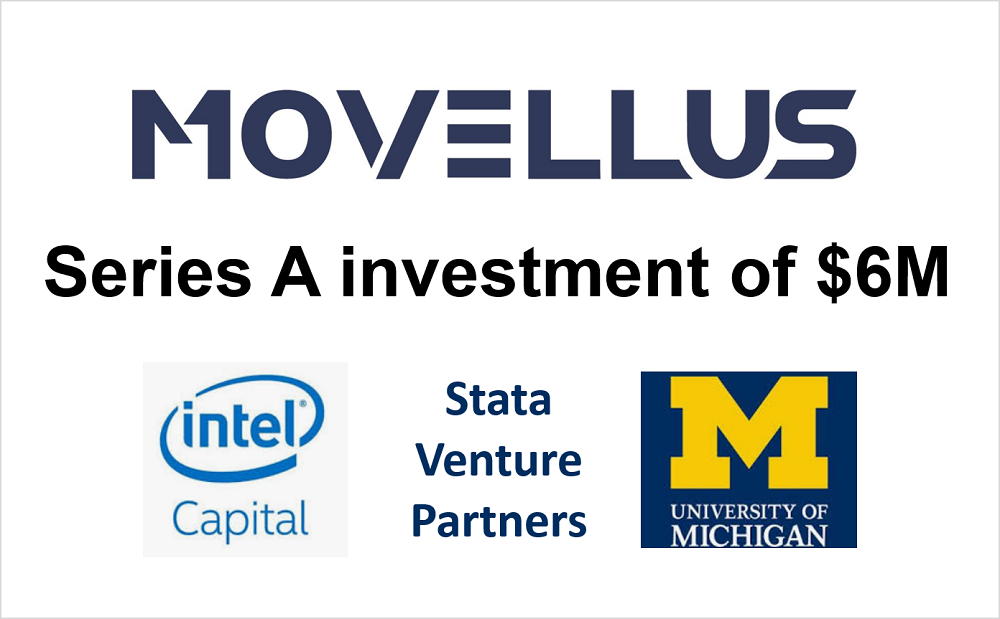 "Icons of intel, stata capital, and U-M logo. ""Movellus"" ""Series A investment of $6M"""