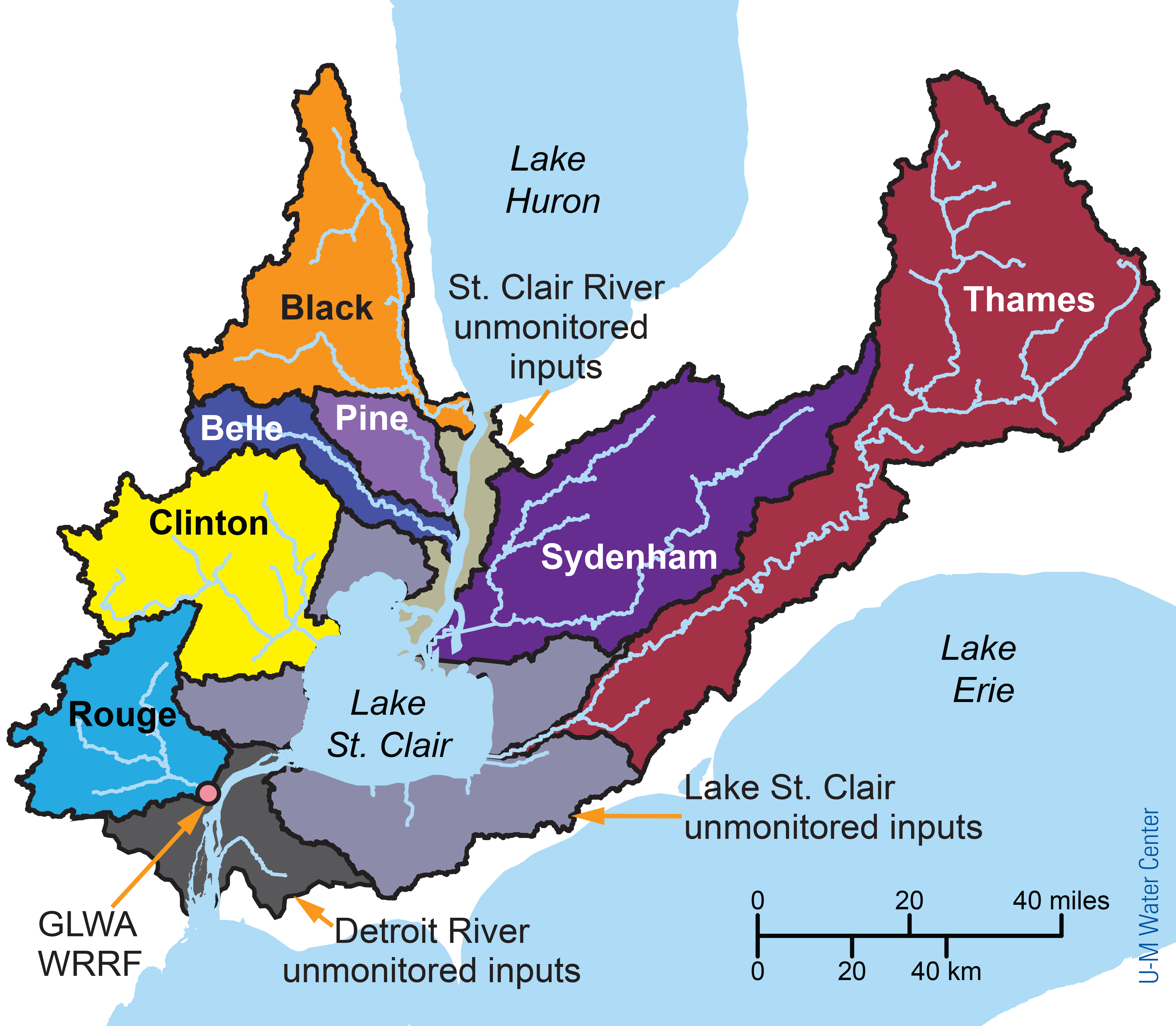 Map of the binational St. Clair-Detroit River System watershed, which includes lands on both sides of the international border that drain into the St. Clair River, Lake St. Clair, and the Detroit River. Land on the U.S. side of the watershed is heavily urbanized, while the Canadian side is mainly agricultural. Image credit: U-M Water Center.