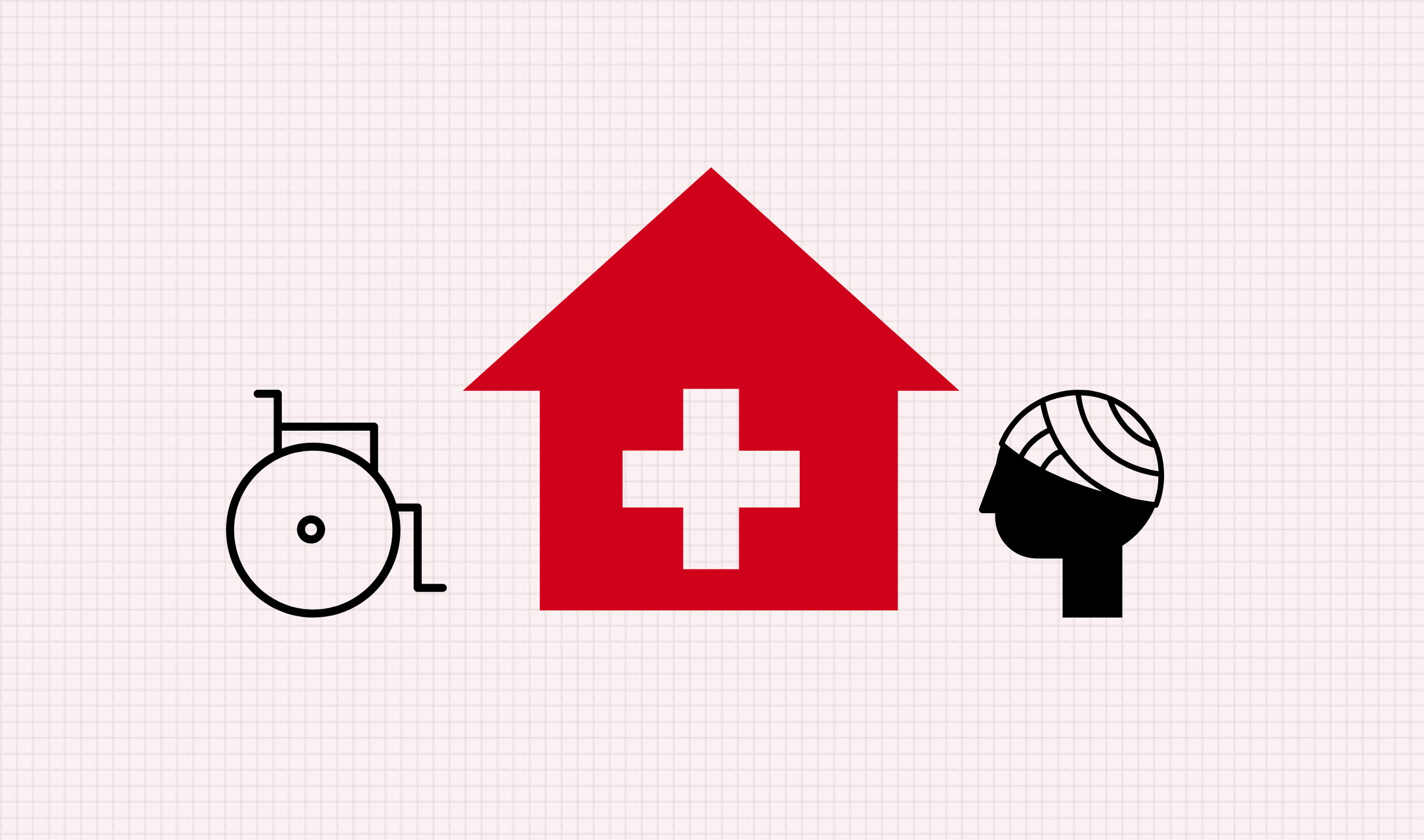 Icons of a hospital and health conditions.