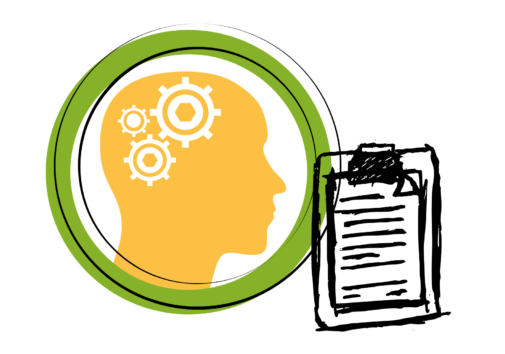 Icon of a brain and clipboard with survey