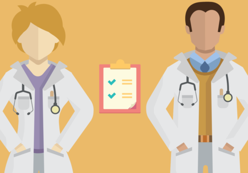 Illustration of two doctors and a clipboard.