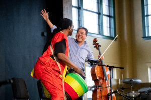 Yo-Yo Ma and Baba Collins delight the crowd.