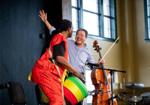 Yo-Yo Ma and Baba Collins delight the crowd.