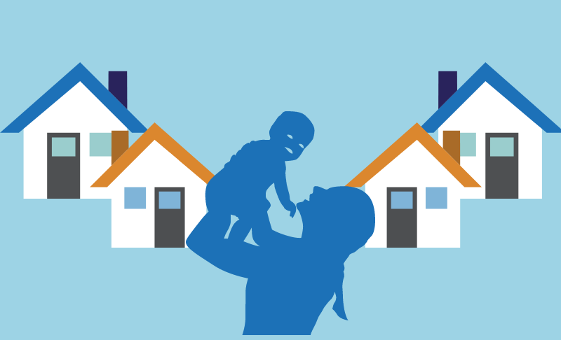 Graphic of mother with child and houses.