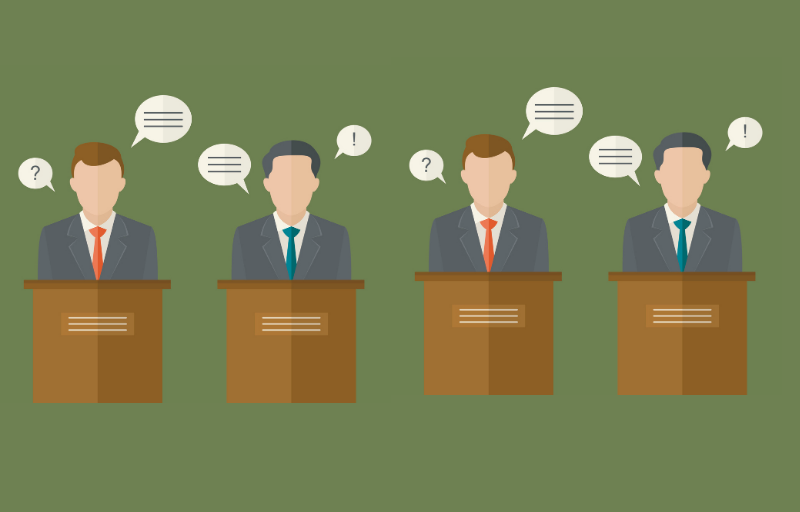 Debate lead graphic with four candidates.