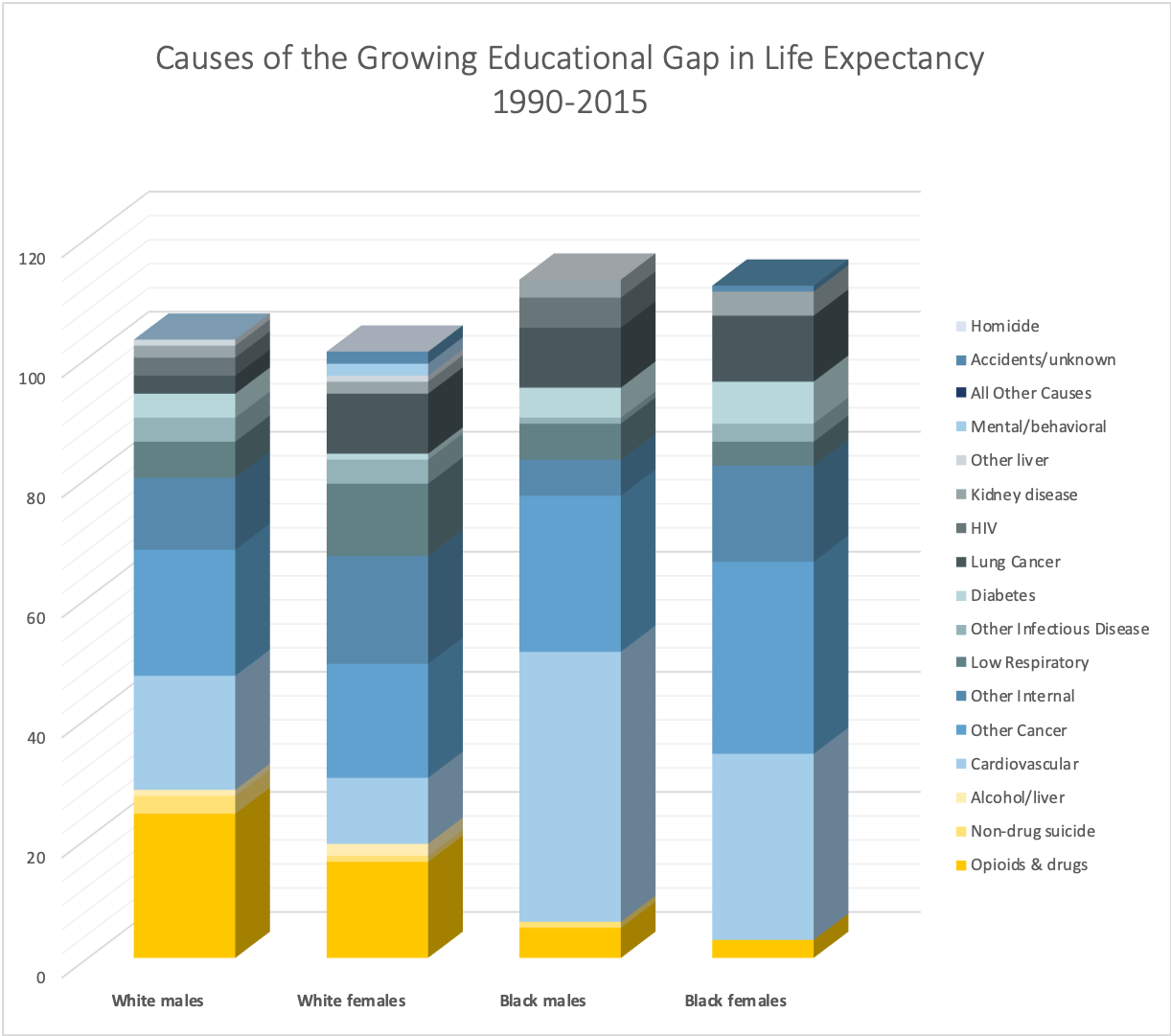 Causes of the Growing Educational Gap in Life Expectancy