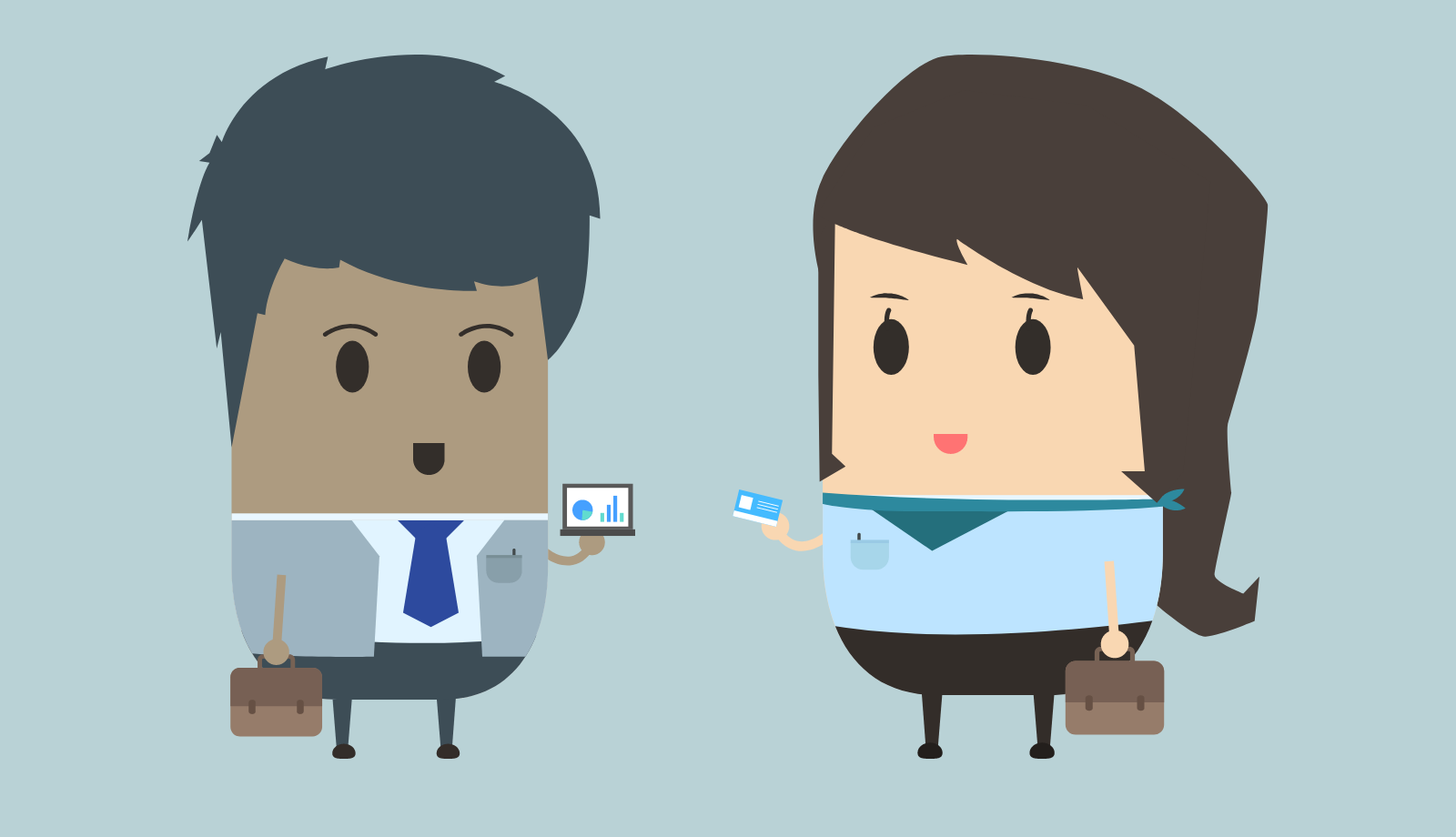 Illustration of two employees talking.