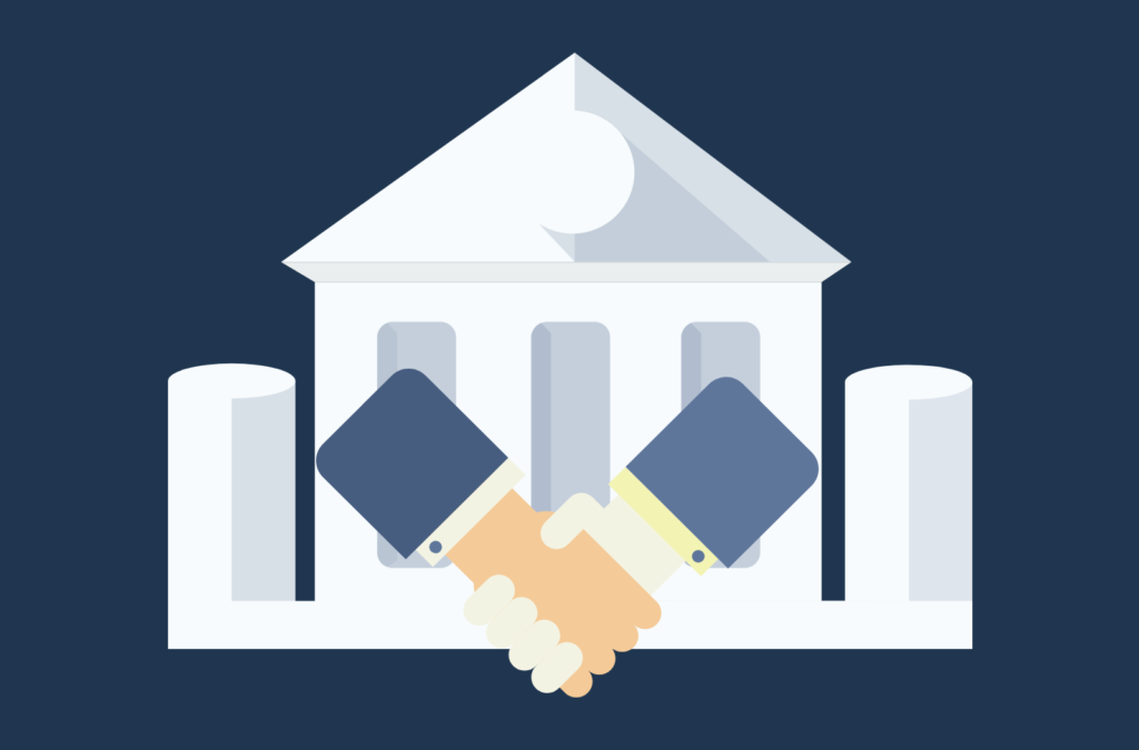 Illustration of two people shaking hands outside of a government building.