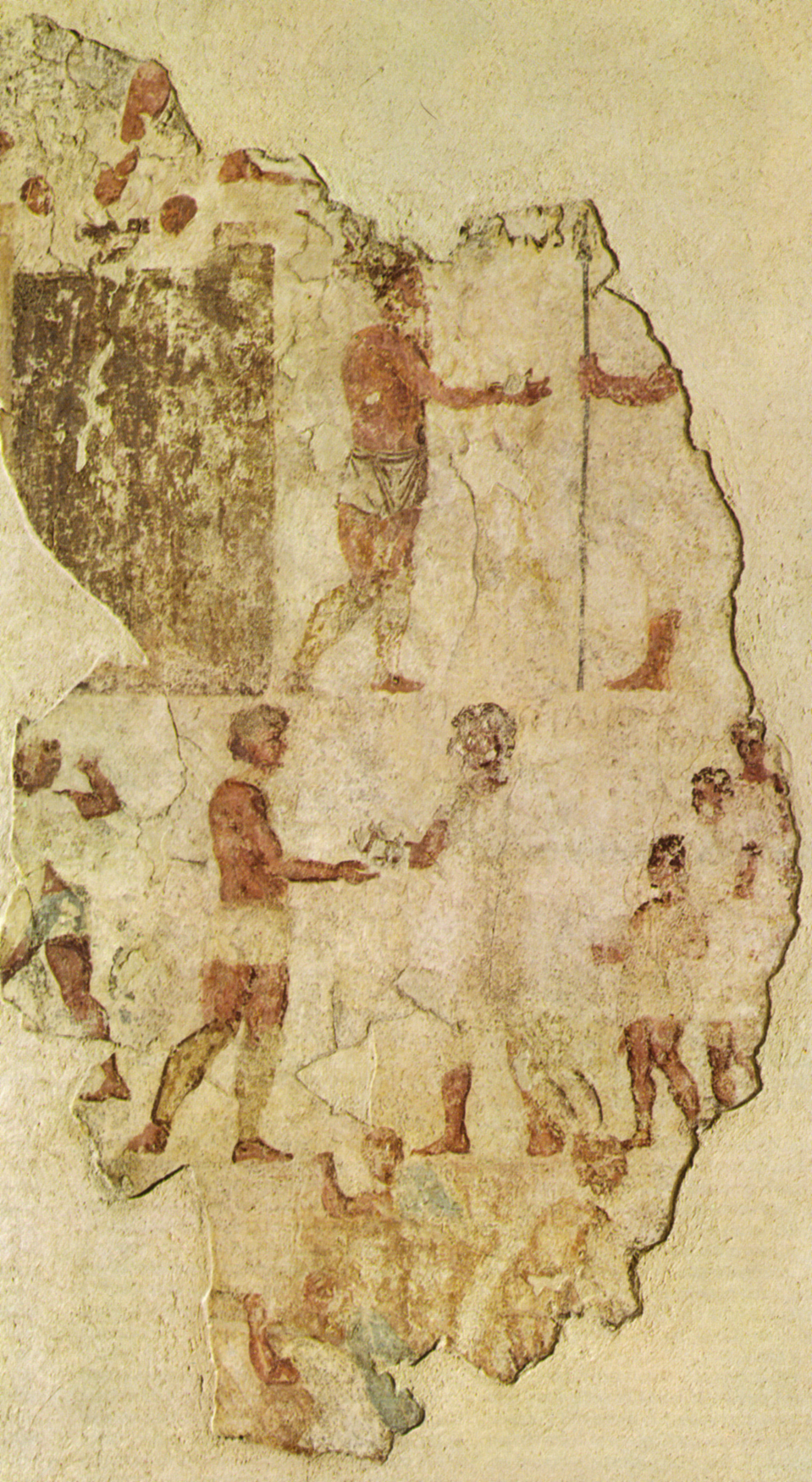 An ancient Roman fresco from the Necropolis of Esquilino, dated c. 300-280 BC, depicts a handshake between a Roman and a non-Roman Image credit: Public domain, Wikimedia Commons