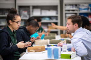 Cass Tech students pair up with U-M counterparts.  Image credit: Michigan Photography