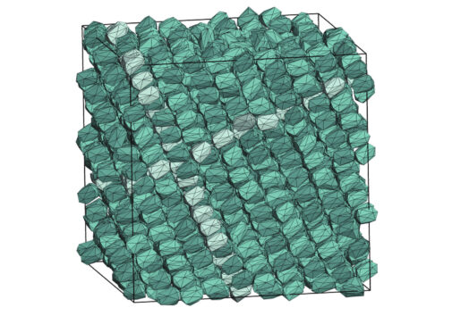 "Inside the boundaries of the simulation, a particle shape designed by a computer program creates a new kind of crystal—a variation on what is known as ""hexagonal close packed."" Image credit: Glotzer Group, Michigan Engineering"