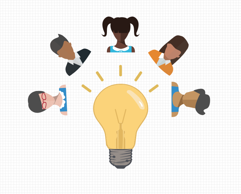 Ilustration of people around a lightbulb. Image credit: Chloe Oliva