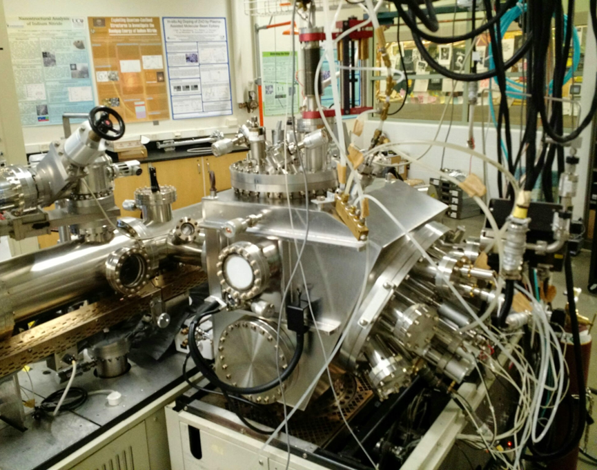A molecular-beam epitaxy system lays down each atomic layer of the compound in a systematic fashion, so researchers can study the thin layer, or film, structure as they grow it.