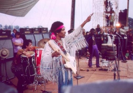 Jimi Hendrix at the Woodstock Music Festival on Aug. 18 1969.