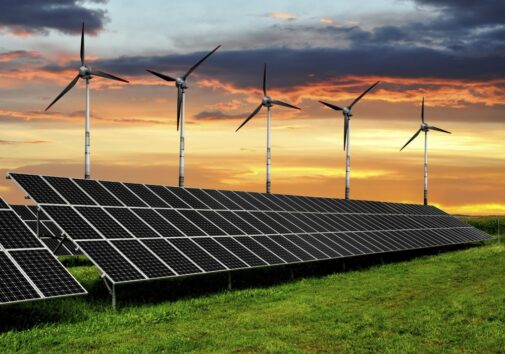 Solar panels and wind turbines. Stock image.