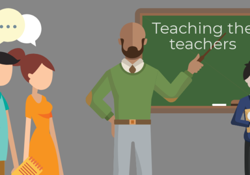 Illustration of teacher teaching other teachers. Illustration credit: Ilma Bilic