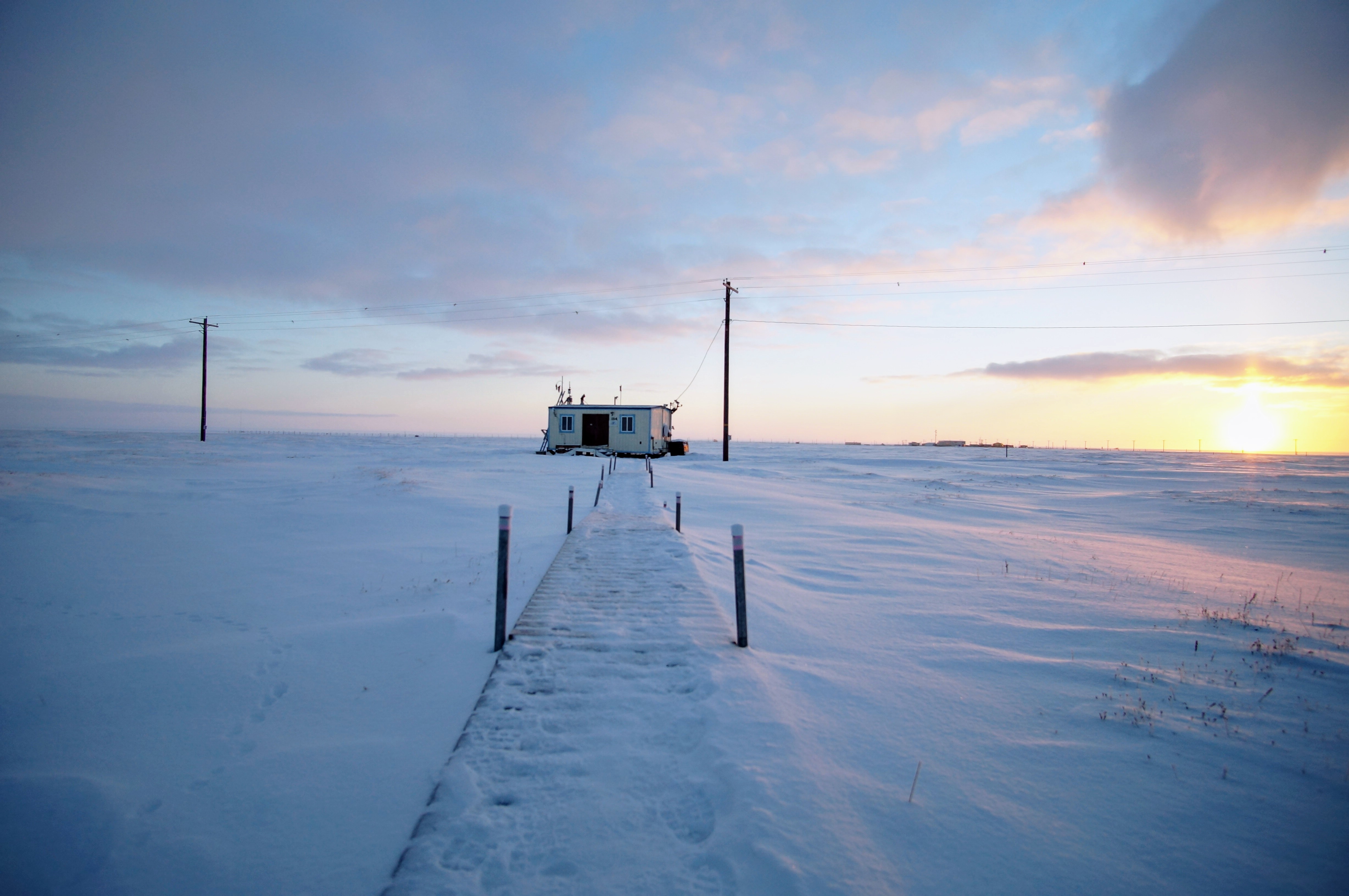 A unique chemistry happens when sunlight hits the salty snow in the Arctic. Image credit: Jun Liu