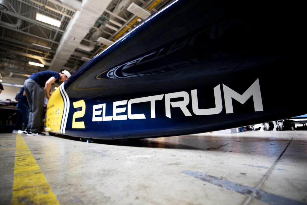 "U-M's new solar car, ""Electrum"". Image credit: Joseph Xu, Michigan Engineering"