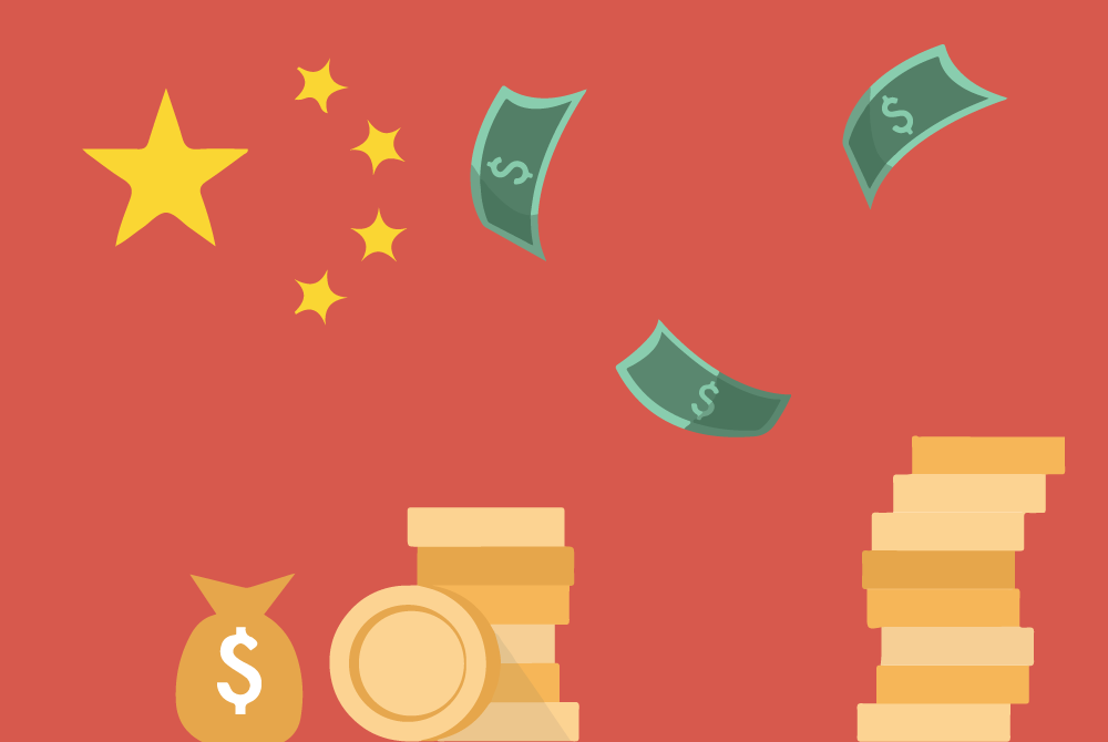 illustration of money and the Chinese flag. Image credit: Ilma Bilic