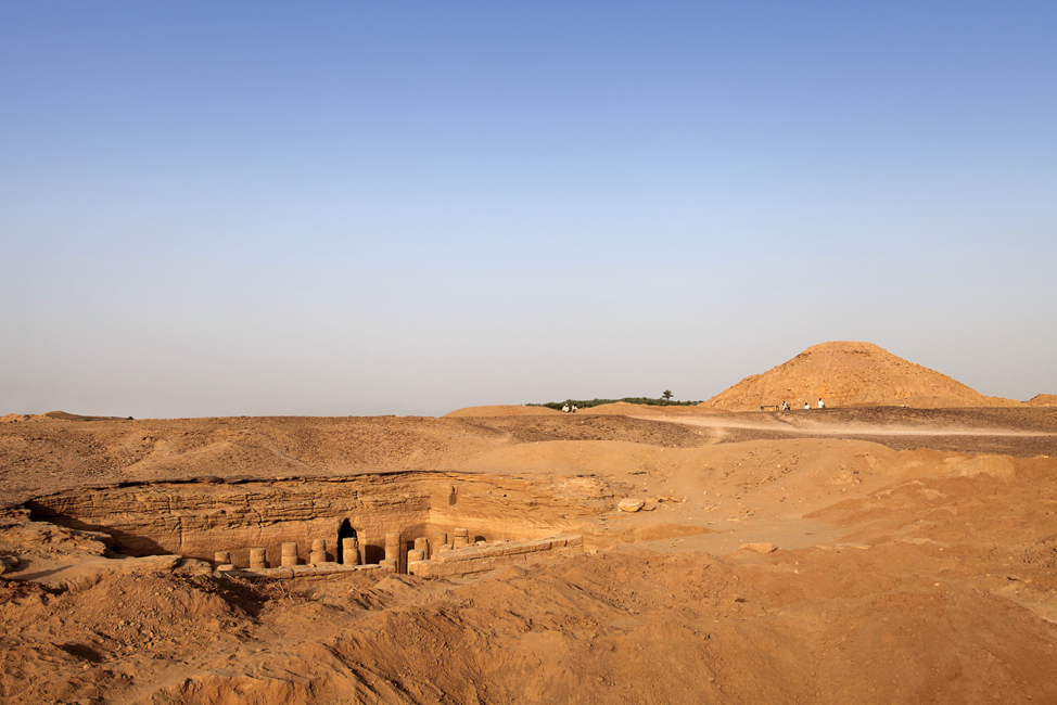Pyramid Ku. 1 and associated funerary temple Ku. 1500 at El-Kurru, Sudan. Image credit: Geoff Emberling