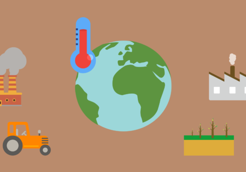 Icons of issues in climate change that increase greenhouse gas emissions
