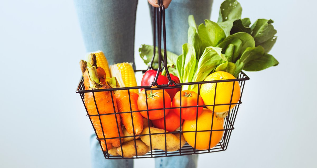 grocery basket stock image.